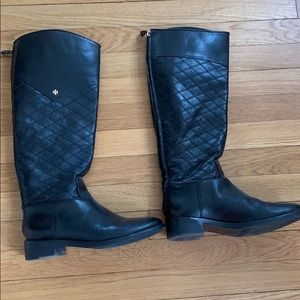 Tory Burch black classic quilted riding boots
